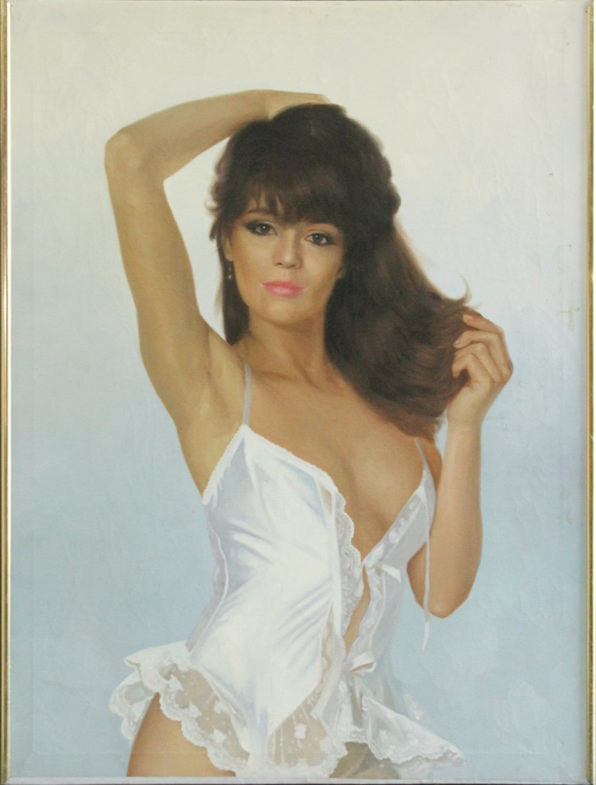 1960s Illustration Oil on Canvas, Girl in Lingerie