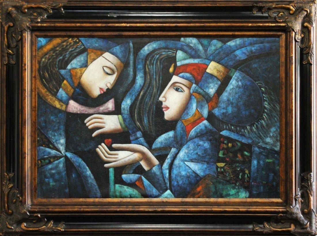 T Karas, Oil/C, Two Cubistic Figures
