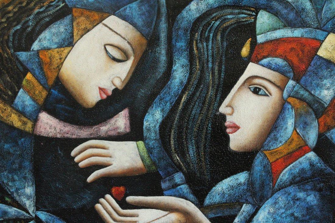 T Karas, Oil/C, Two Cubistic Figures - 2