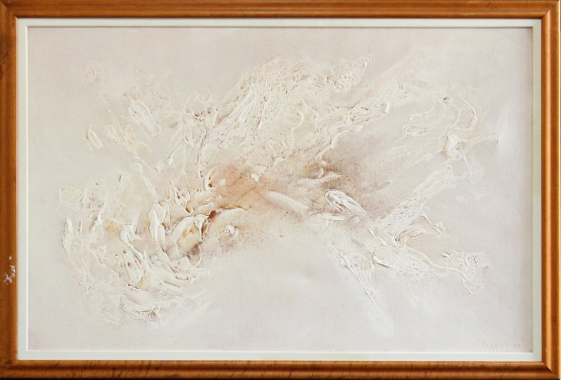 Pogach 1979, O.  il on Canvas, White Abstract in Relief