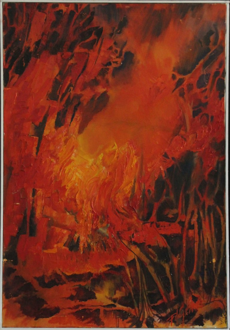 Fitzgerald 1963, Oil/C, Abstract Forest Fire, Signed