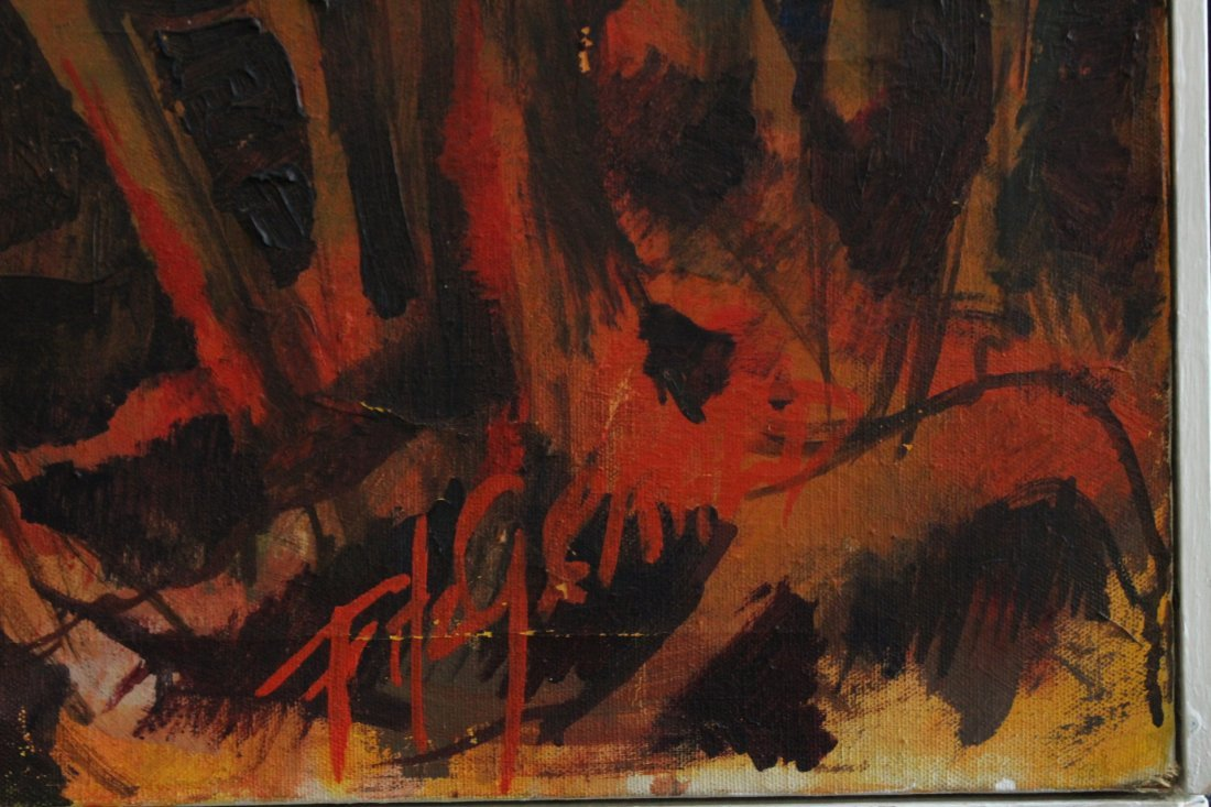 Fitzgerald 1963, Oil/C, Abstract Forest Fire, Signed - 2