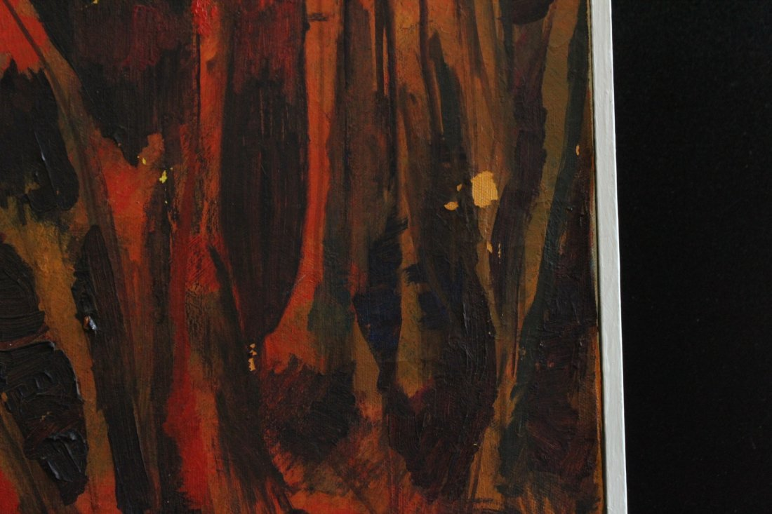 Fitzgerald 1963, Oil/C, Abstract Forest Fire, Signed - 3