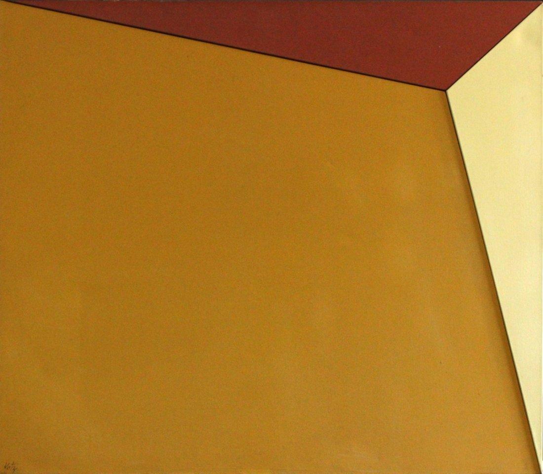 Katz, Oil/C, Mid Century Modern Abstract  Composition