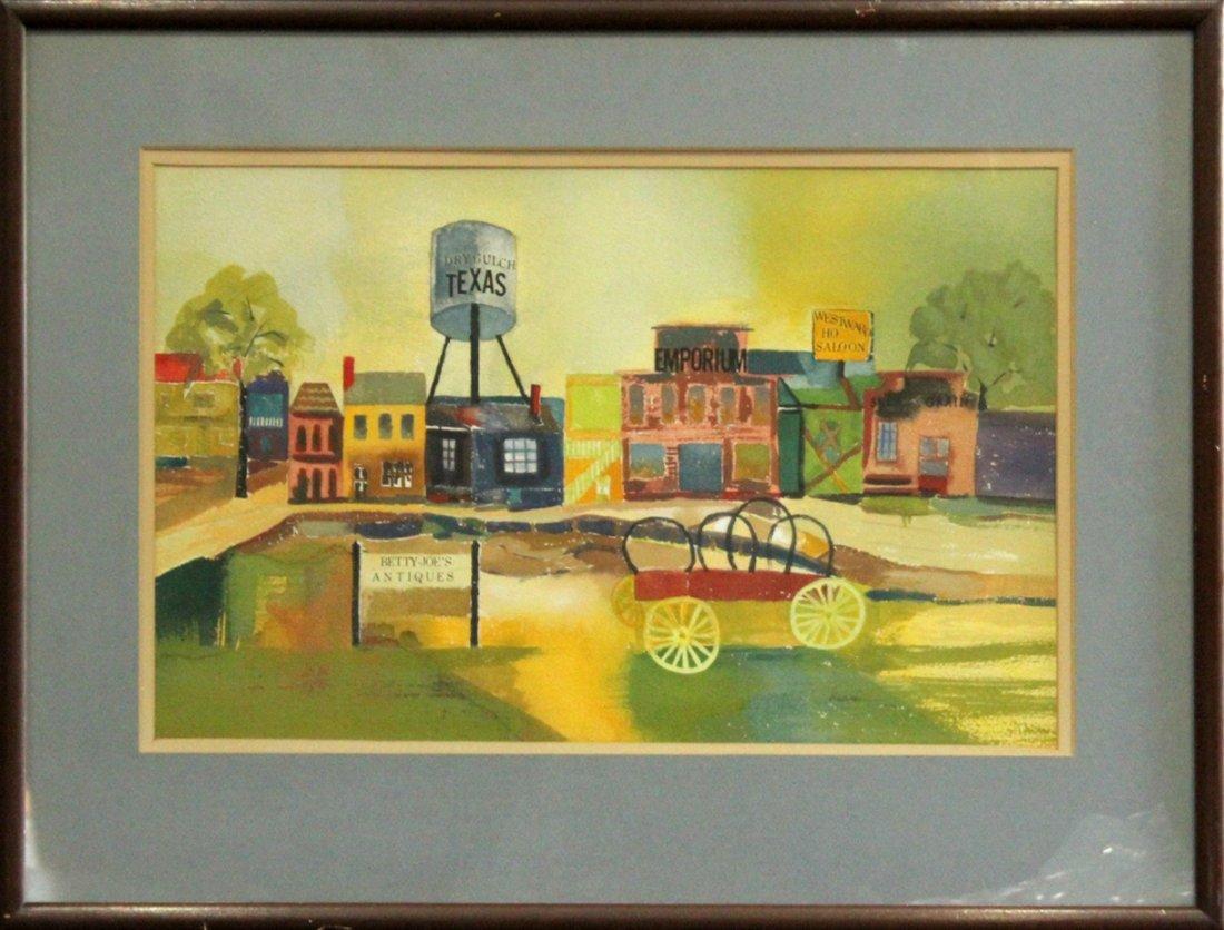 Henri, Vintage Watercolor, Texas Old Western Ghost Town