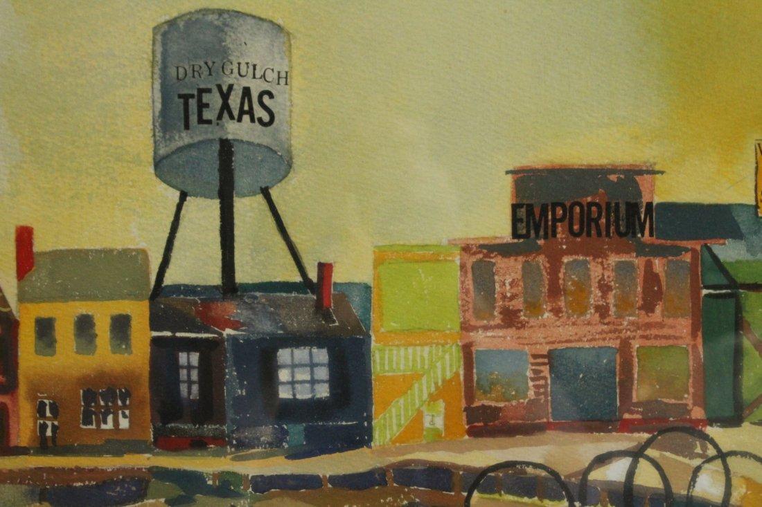 Henri, Vintage Watercolor, Texas Old Western Ghost Town - 3