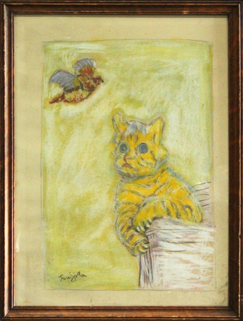 Foujita, Manner of, Pastel Cat Looking At Bird