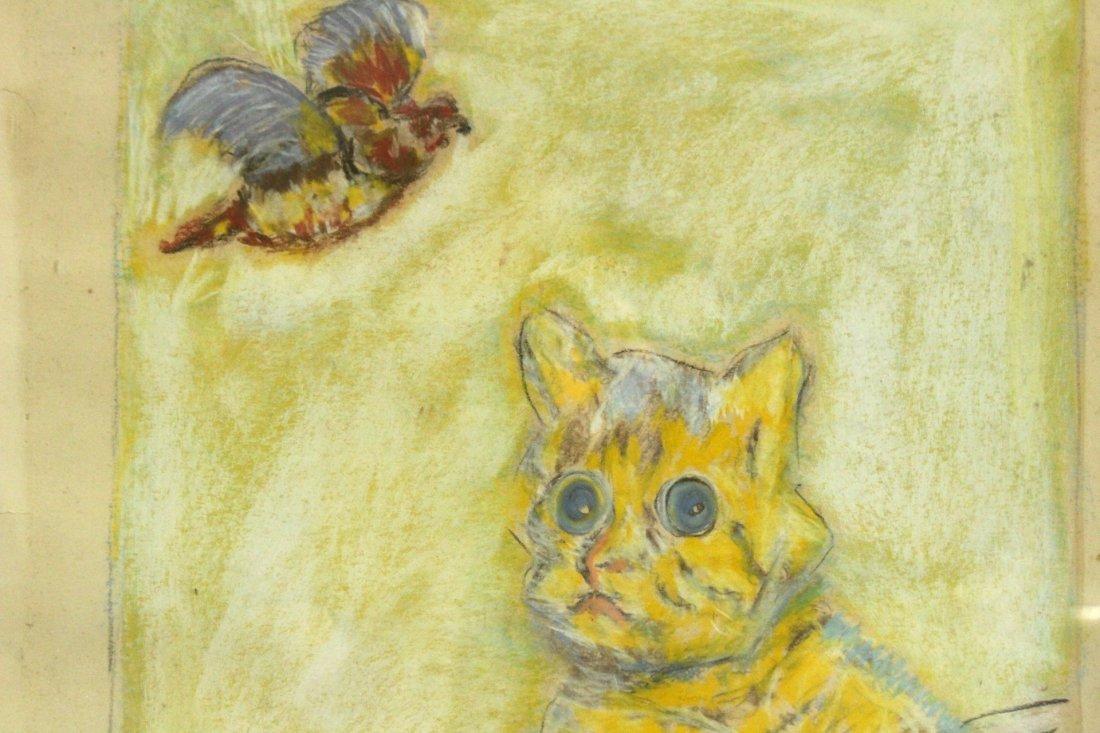 Foujita, Manner of, Pastel Cat Looking At Bird - 3
