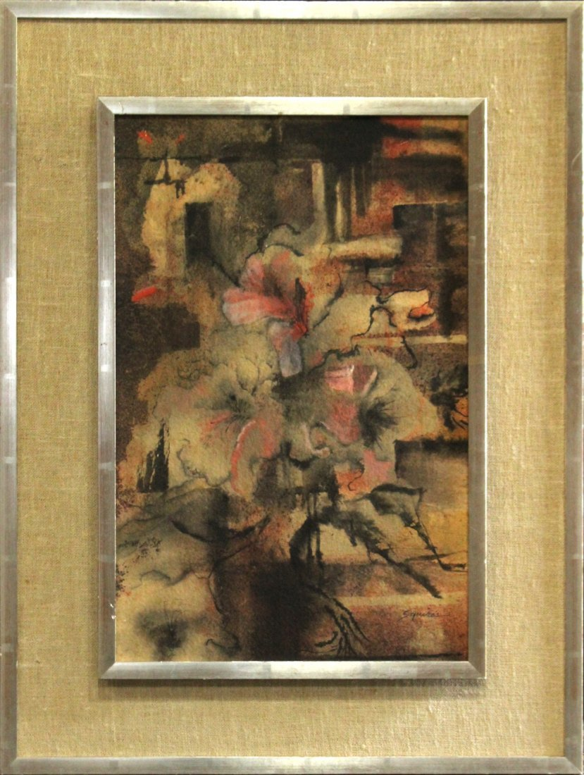 Squires Mid Century Modern Floral Still Life Watercolor