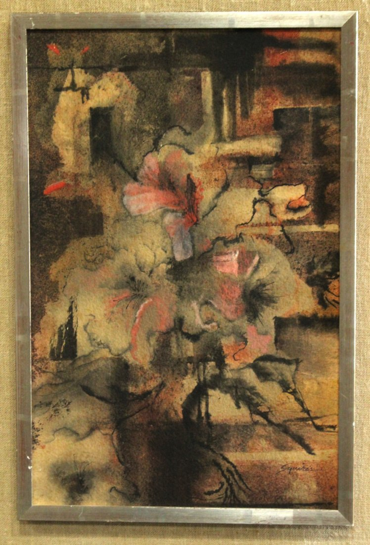 Squires Mid Century Modern Floral Still Life Watercolor - 3