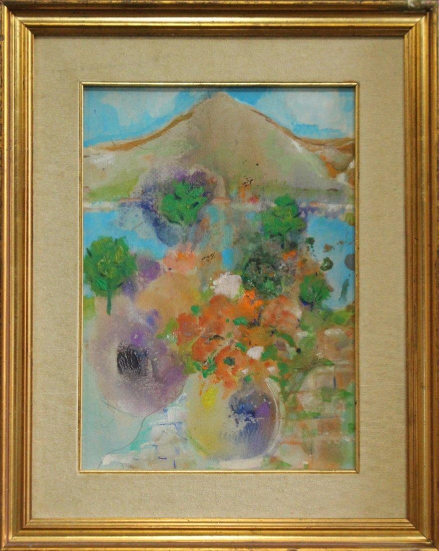 Evelyn Licht Woman Artist Bouquet To Vesuvius Oil Paper
