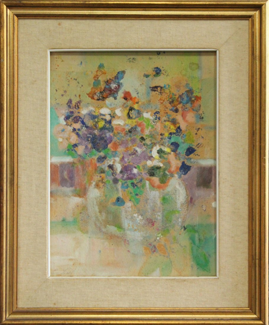 Evelyn Licht, Woman Artist Butterfly Bouquet, Oil Paper
