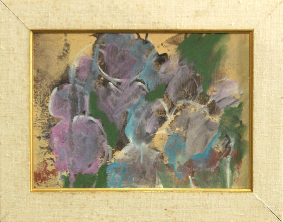 Evelyn Licht, Woman Artist Purple Bouquet, Oil on Paper