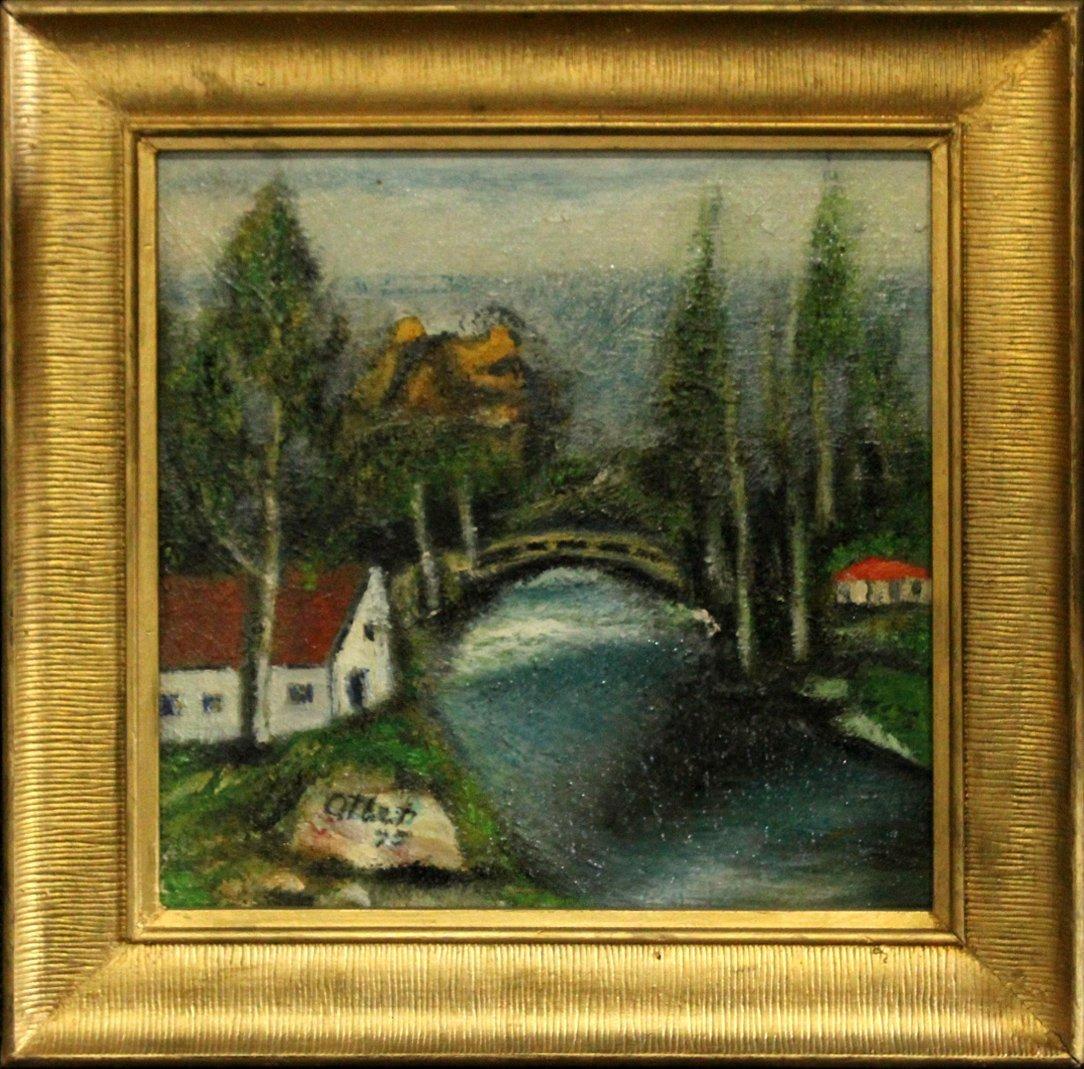Otbet, Russian Oil/C Landscape, Bridge , Home, Signed