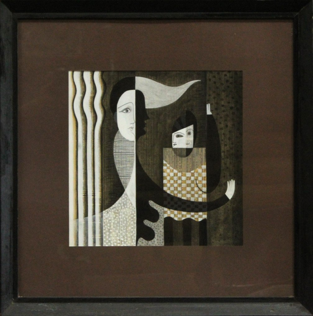 SEYMOUR ZAYON Mid Century Modern ABSTRACT COLLAGE
