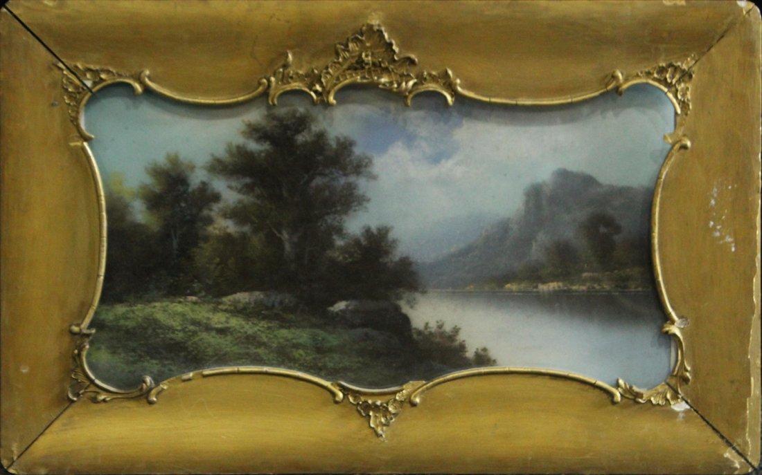 Circa 1920 Pastel River Landscape Original Shaped Frame