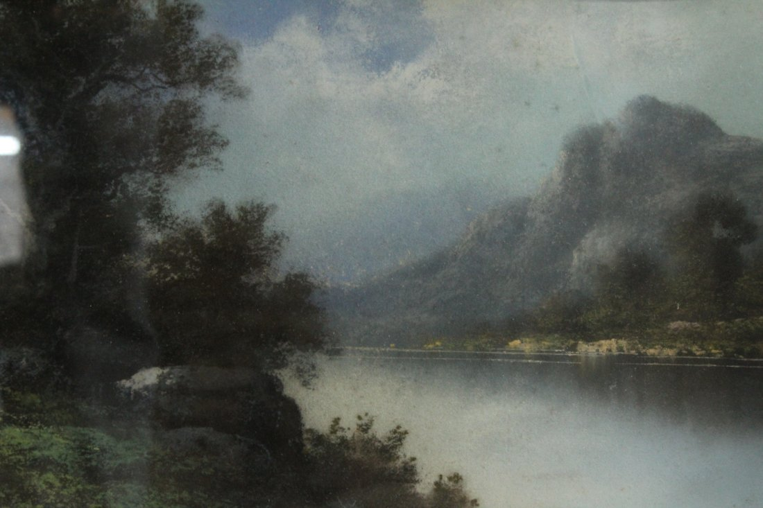 Circa 1920 Pastel River Landscape Original Shaped Frame - 2