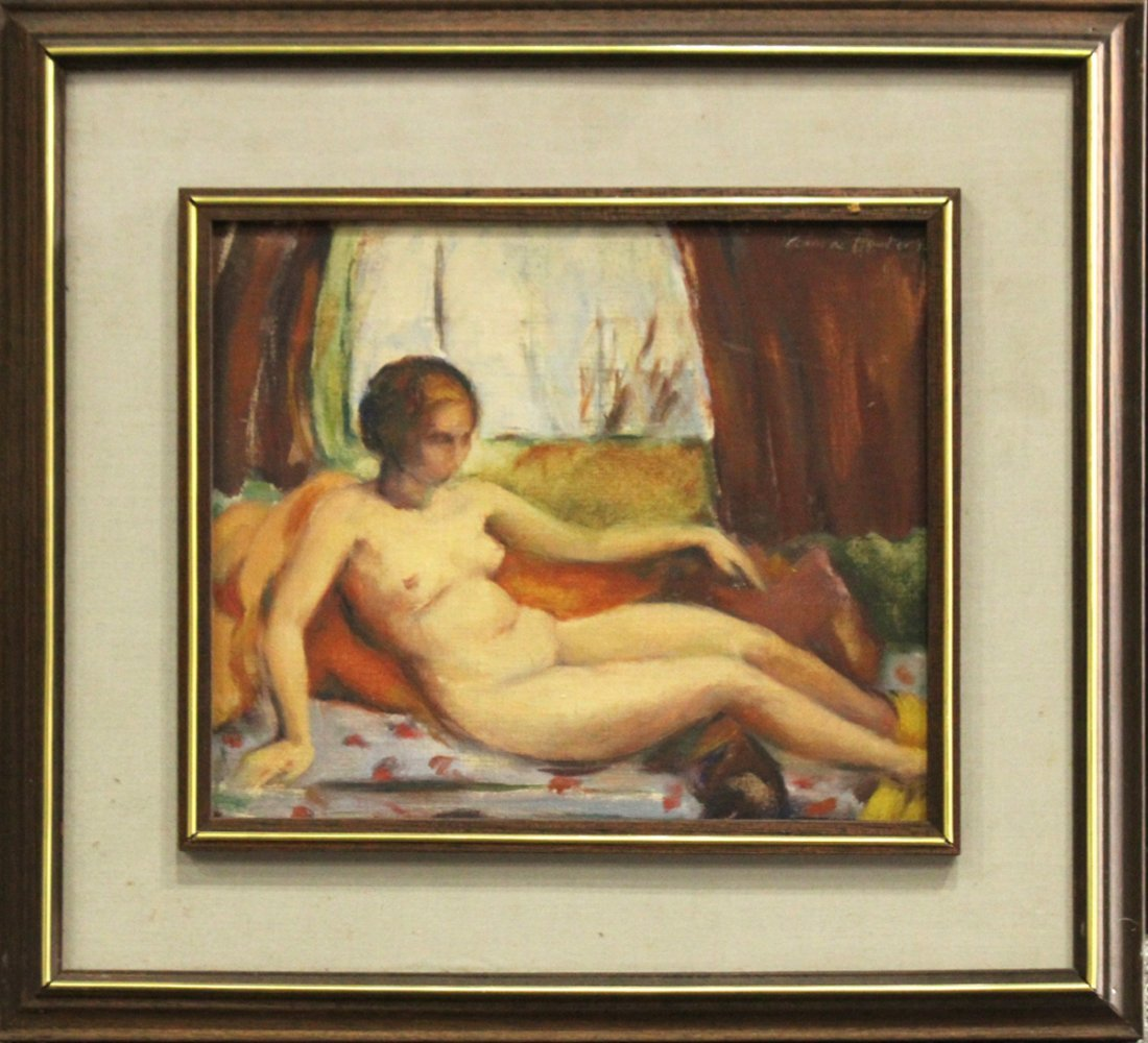 Anna Foster, Reclining Nude Female Oil on Board