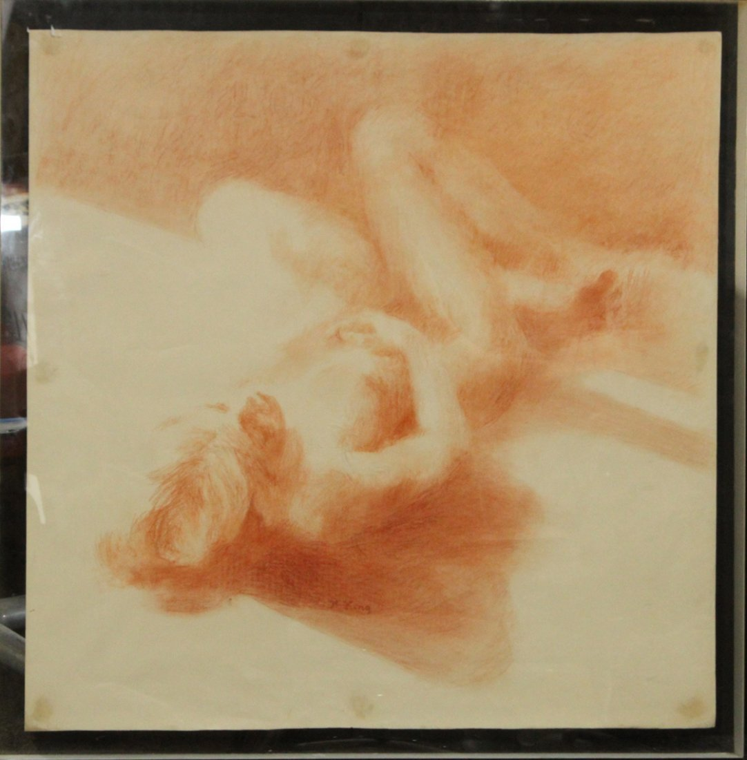 H. King, Fine Graphite Drawing , Reclining Nude Woman