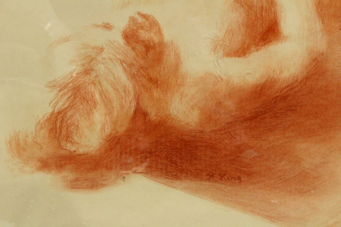 H. King, Fine Graphite Drawing , Reclining Nude Woman - 2