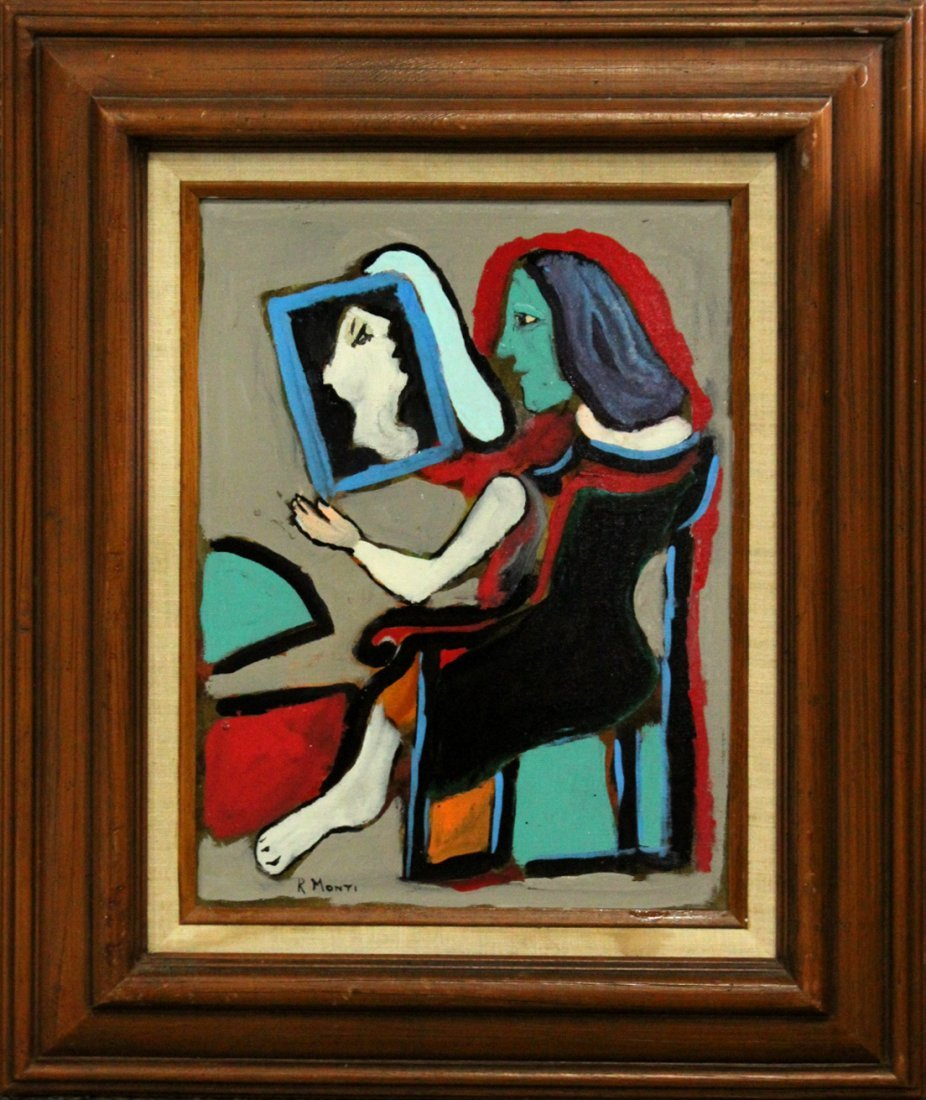 R. Monti, Mid-Century Seated Woman Looking Into Mirror