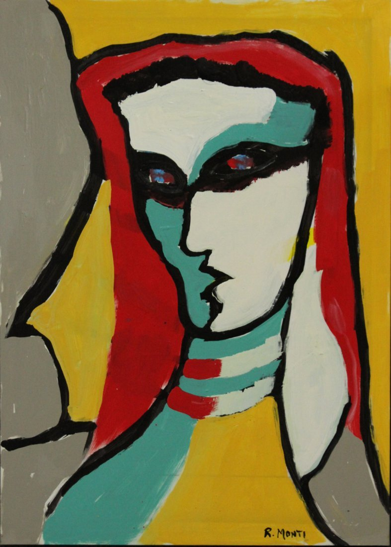 R. Monti, Mid-Century Modern Abstract Portrait of Woman