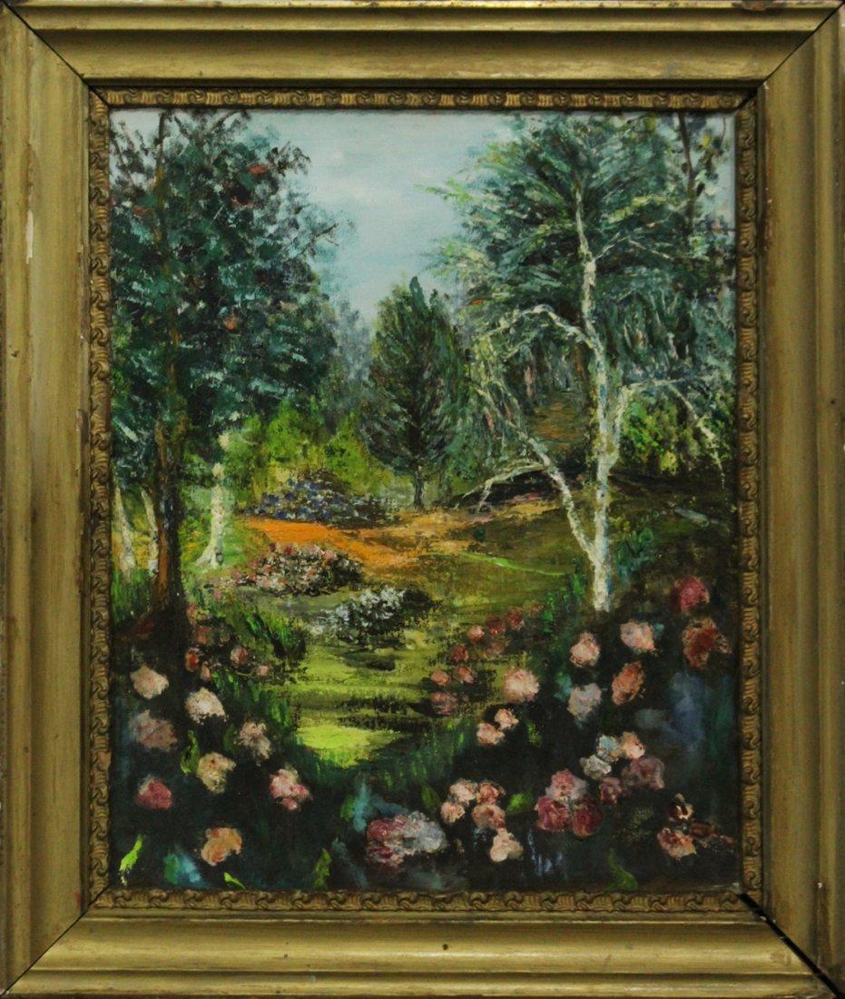 Wild Flowers In Landscape Vintage Oil on Canvas