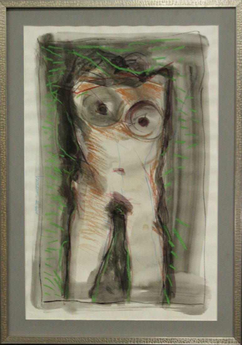 Modernism Abstract Torso Watercolor Signed Illegible