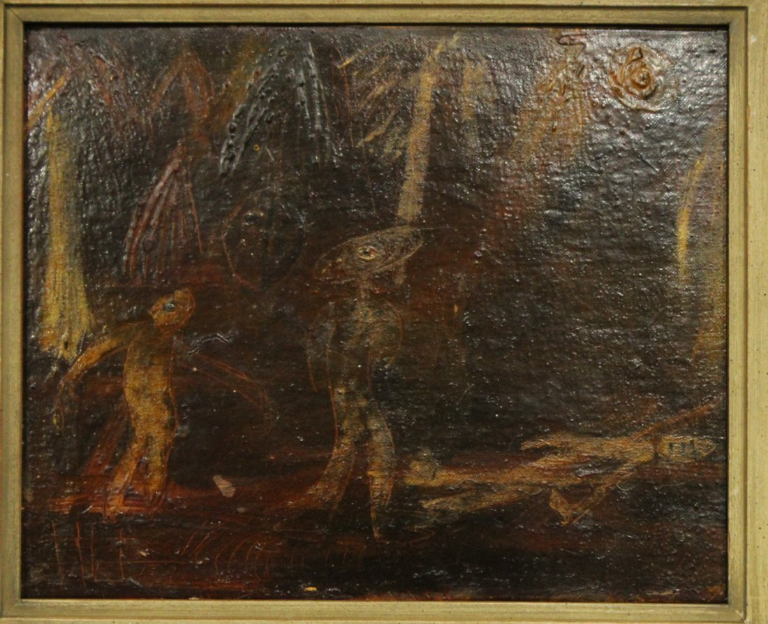 Vintage Latin American Oil Painting Figures Signed - 2