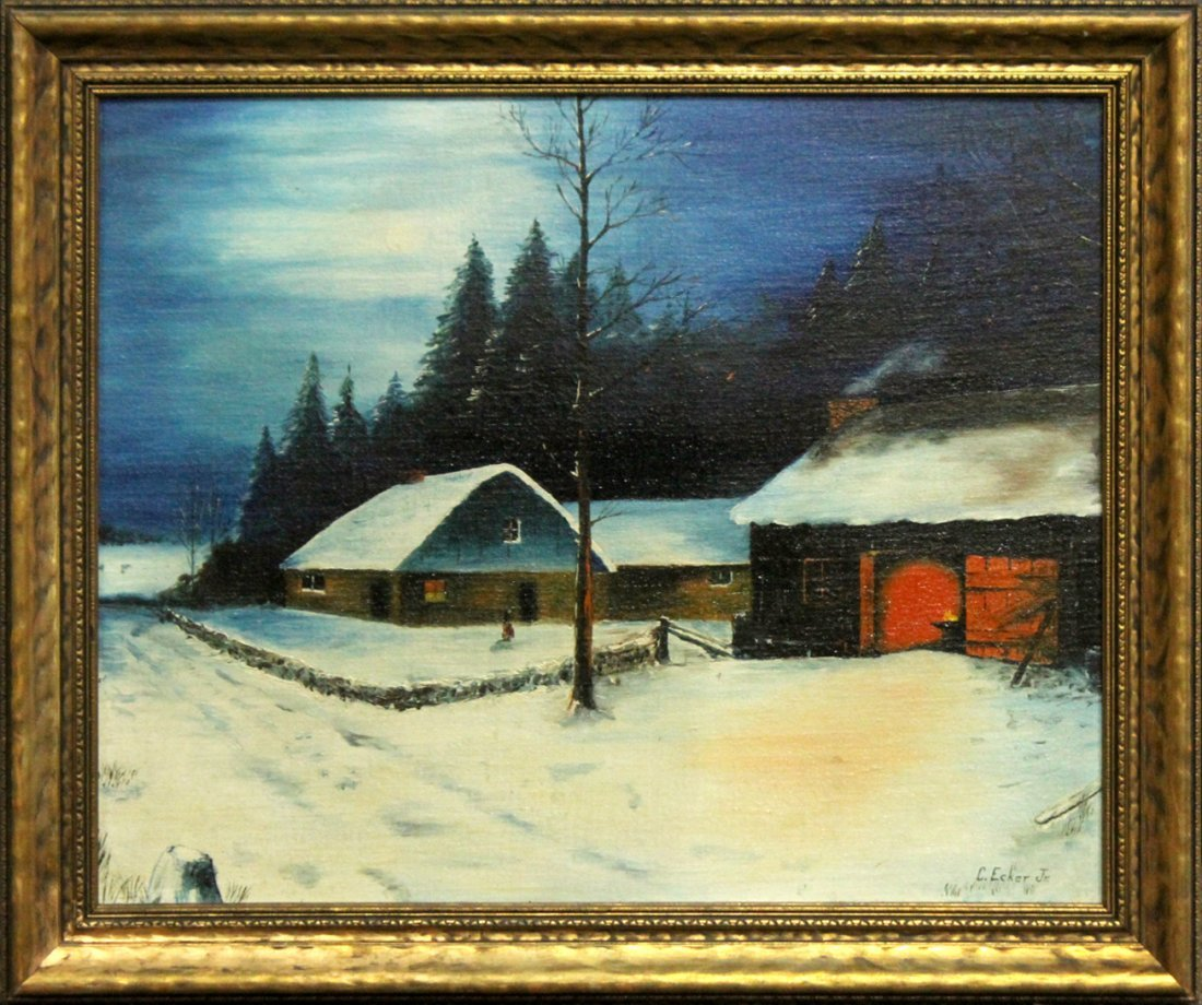 C Eckert Jr, Oil/B Evening Nightfall Winter Landscape