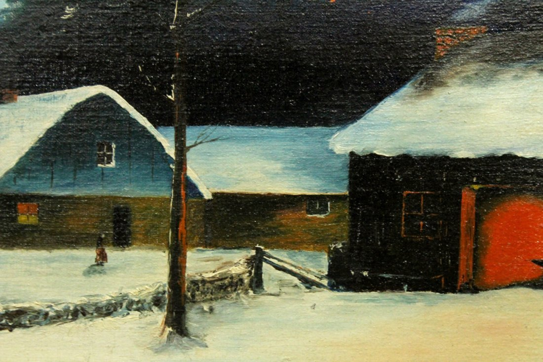 C Eckert Jr, Oil/B Evening Nightfall Winter Landscape - 3