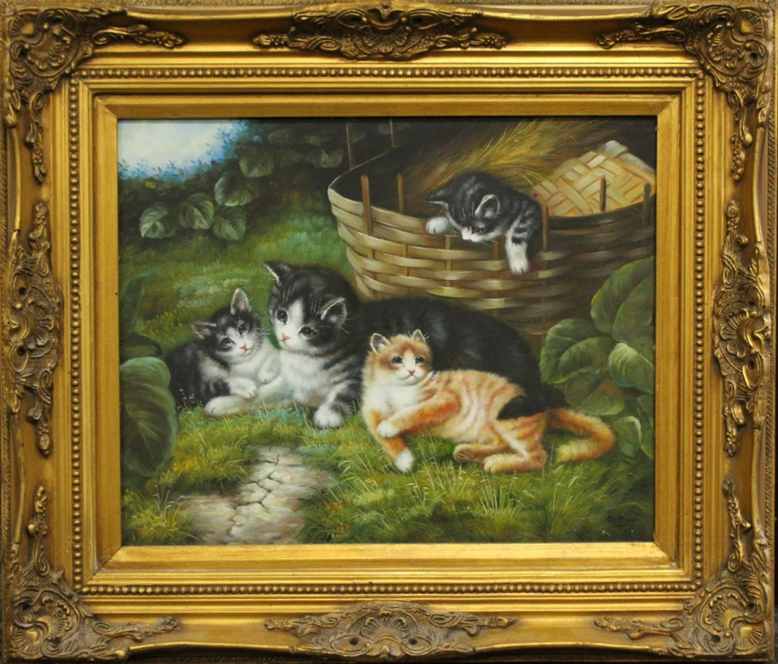 G Ray, Oil/C Family Of Cats , Splint Basket.
