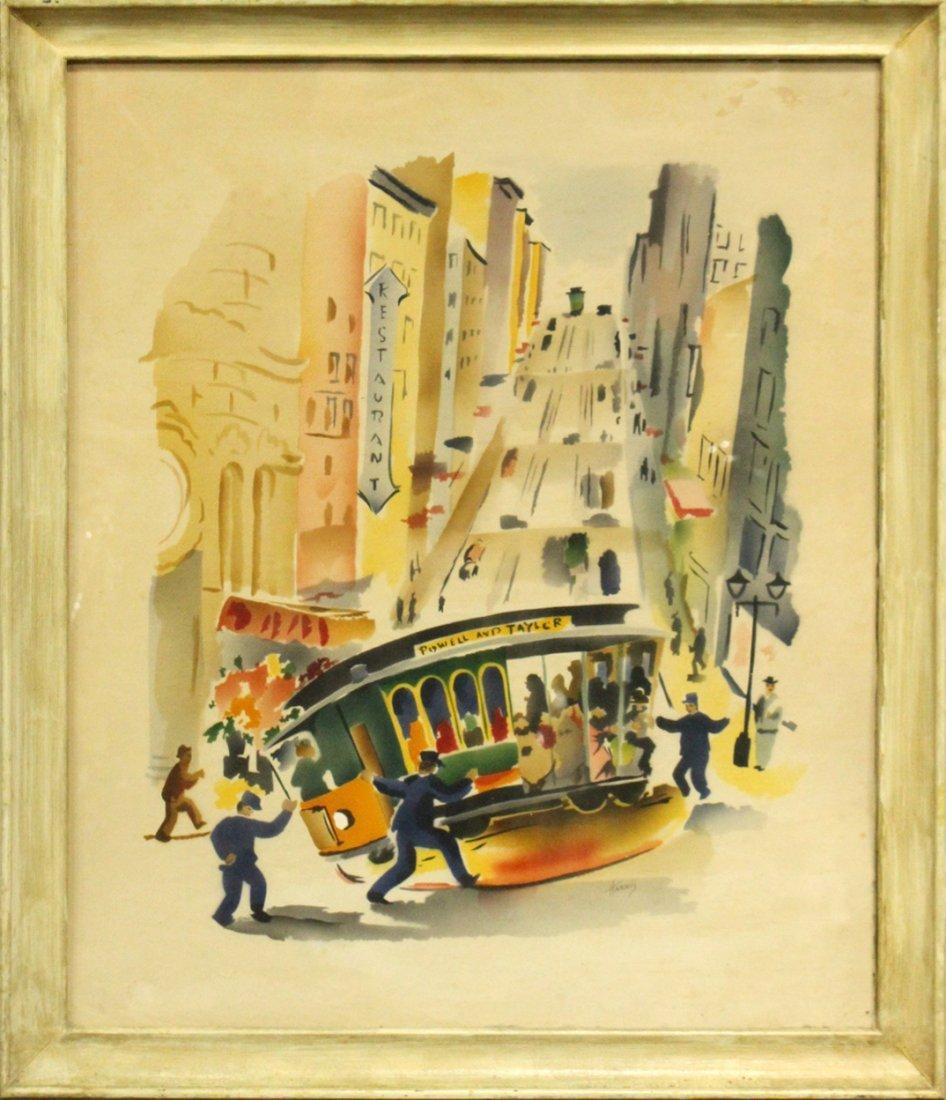 Harris, Vintage Mid-Century Silkscreen of San Francisco