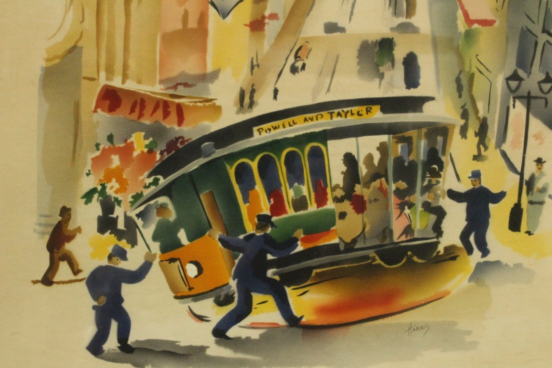 Harris, Vintage Mid-Century Silkscreen of San Francisco - 2