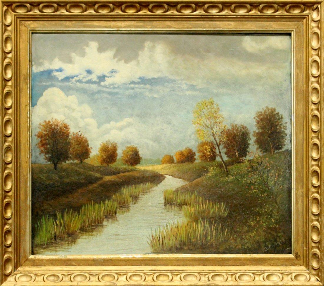 J. Frantz, Oil/B, Landscape With Stream, Signed.