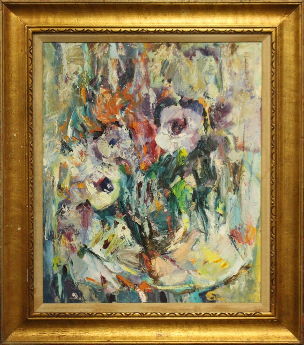 Mid-Century Modern Flowers Abstract Oil Painting