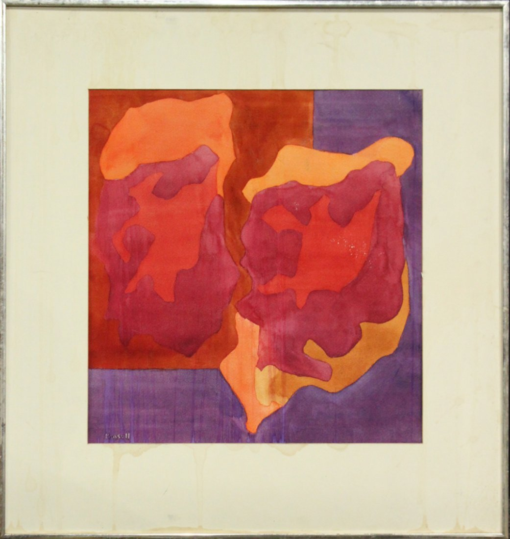 Pensell, Mid-Century Modern Watercolor Abstract Signed