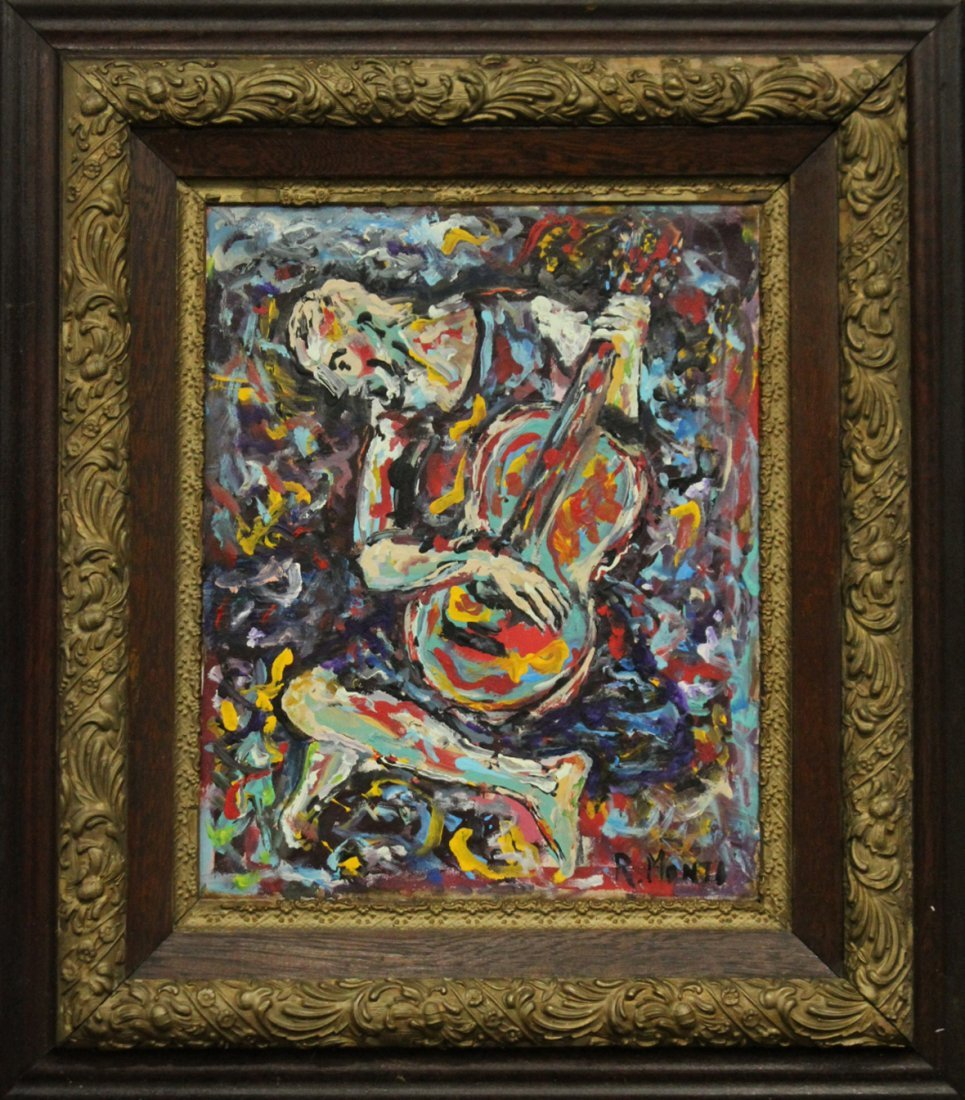 R MONTI Mid Century Abstract Oil/C Guitar Player