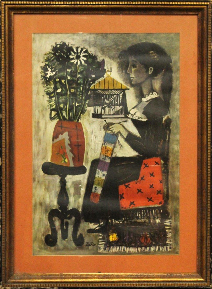 Roger Chaput 1909-1995 France, Color Litho, Melancholie