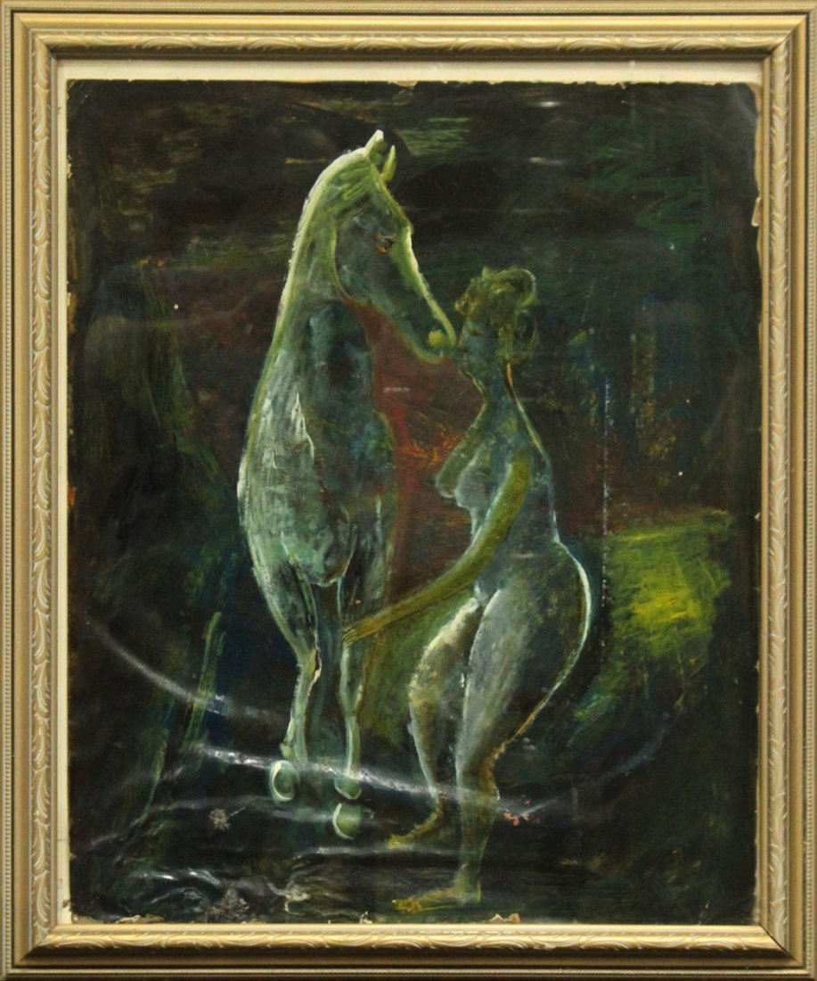 Modernism Oil Painting on Canvas,  Woman With Horse