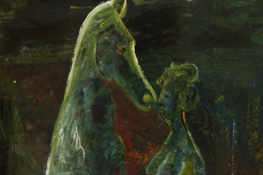 Modernism Oil Painting on Canvas,  Woman With Horse - 2