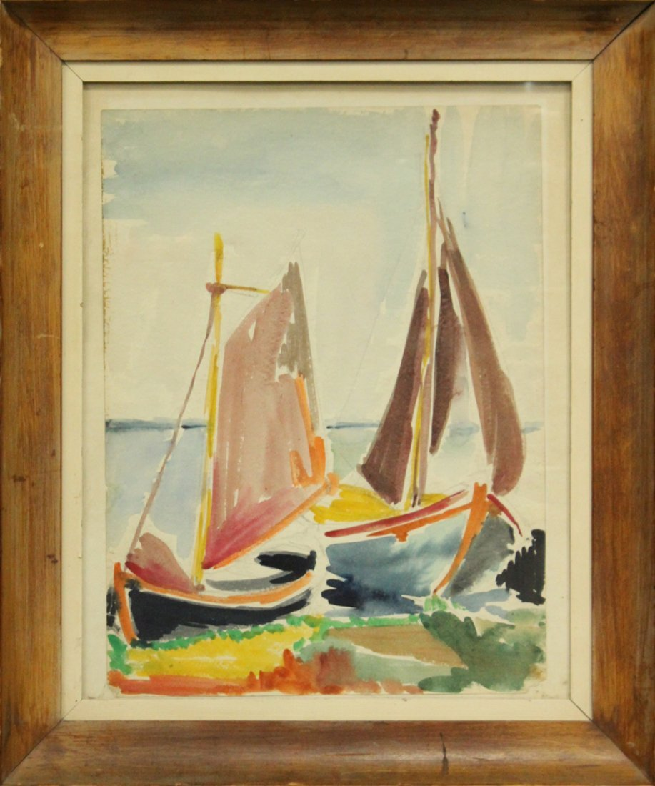 Mid-Century Modernism Watercolor Sailboats On Shoreline