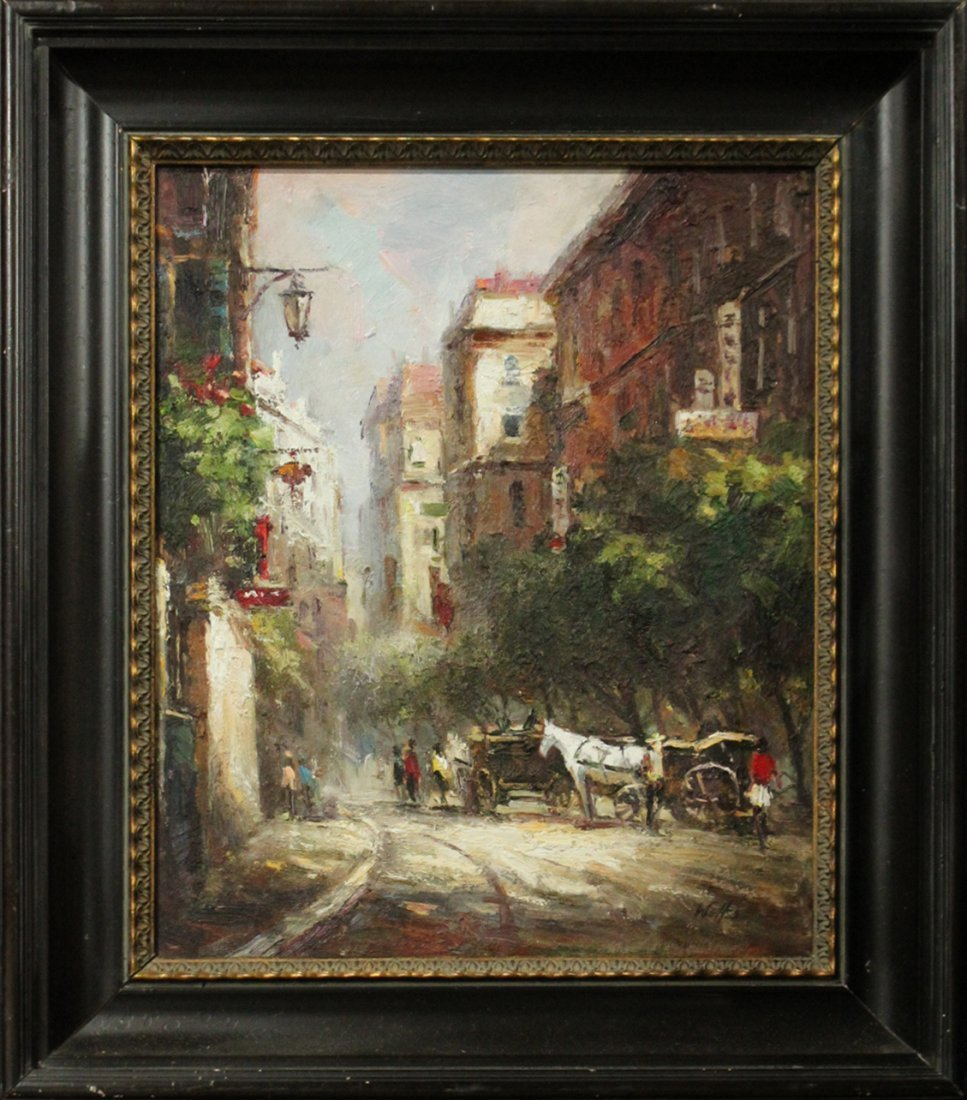Wolfs, Oil/C , Horse Drawn Carriages in the City
