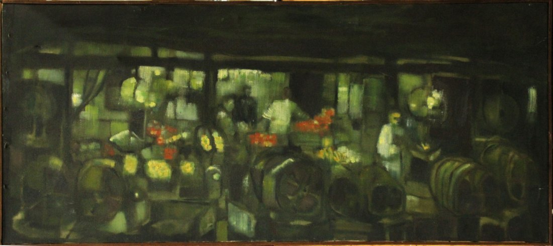Fred R Kraus, Mid -Century Oil Abstract The Nightmarket