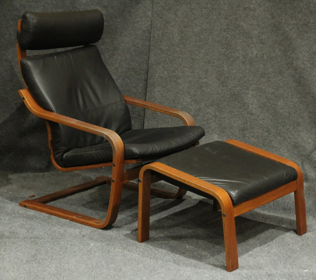 Bent Ply and Black Leather Lounge Chair and Ottoman