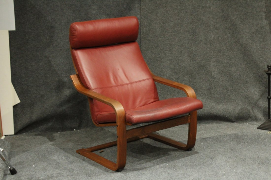 Bent Ply and Reddish Leather Lounge Chair