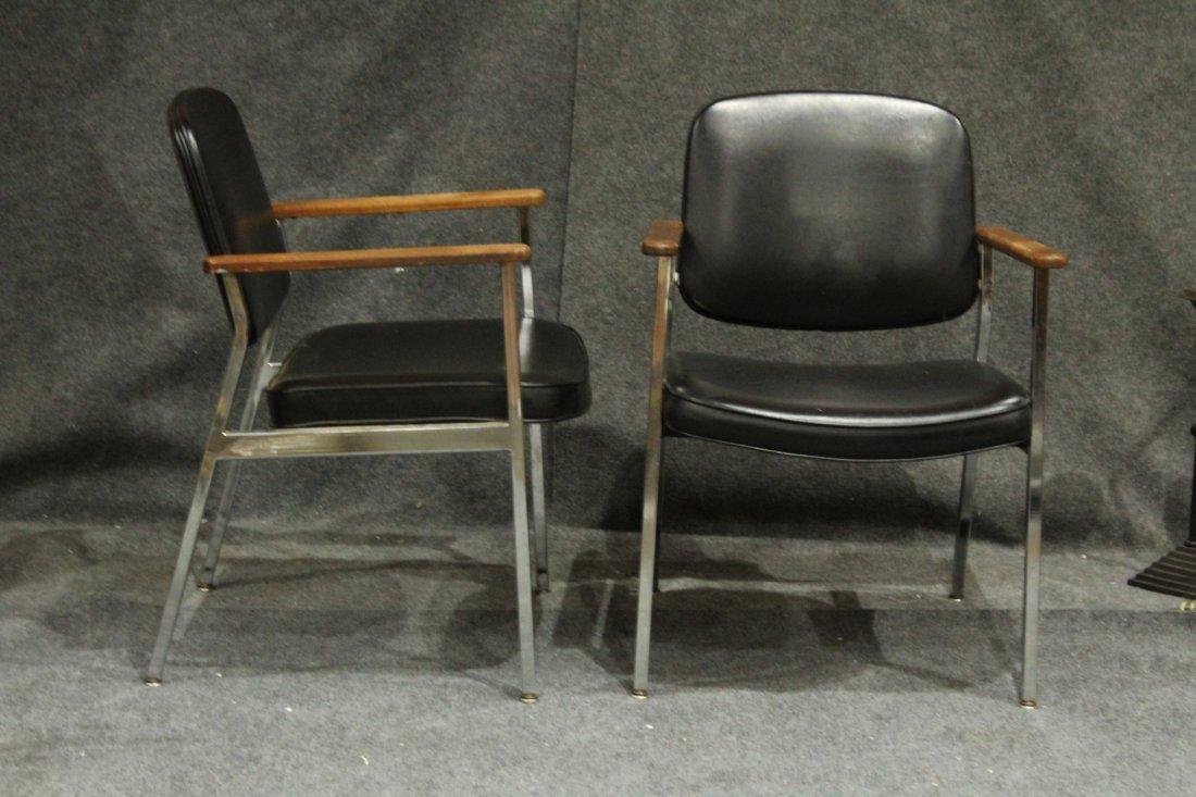 Pair Mid-Century Designcraft Black & Chrome Arm Chairs