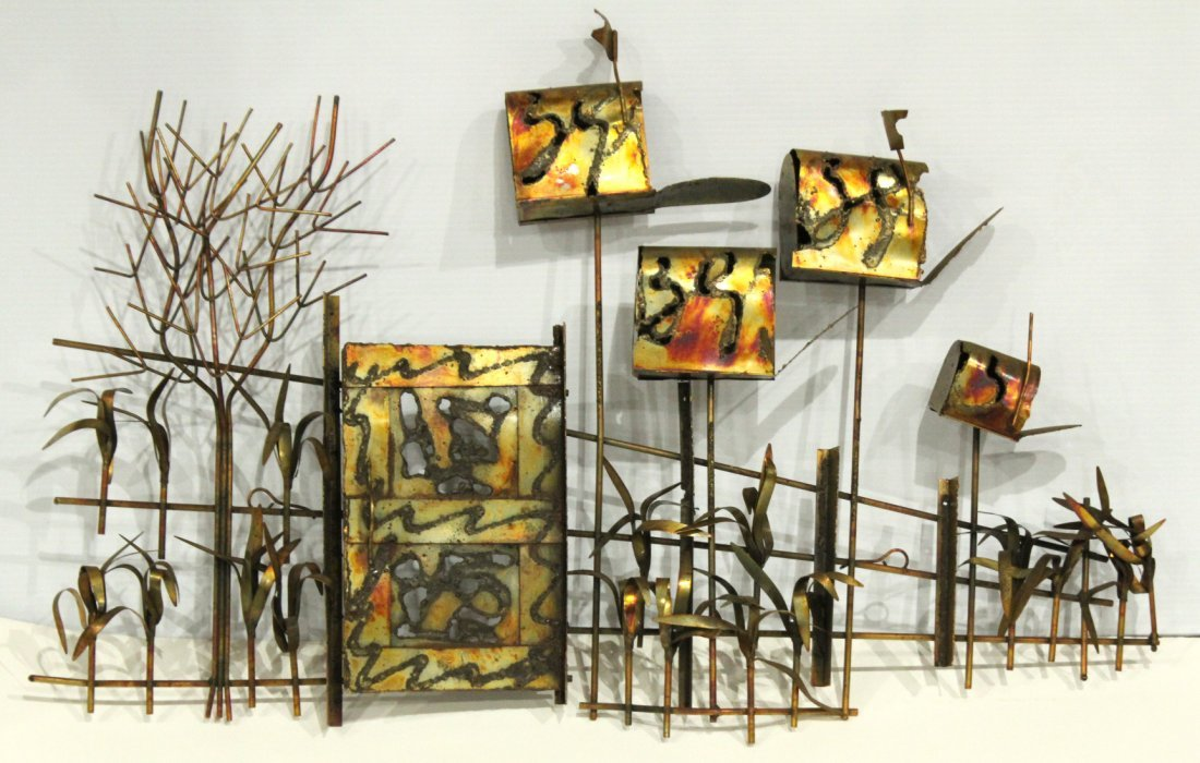 Mid-Century Metal Wall Sculpture, Mailboxes Gated Fence