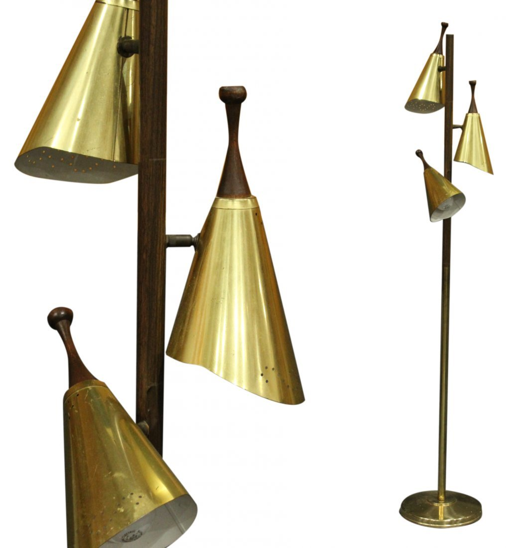 Mid-Century Modern Brass & Wood 3-Light Floor Lamp