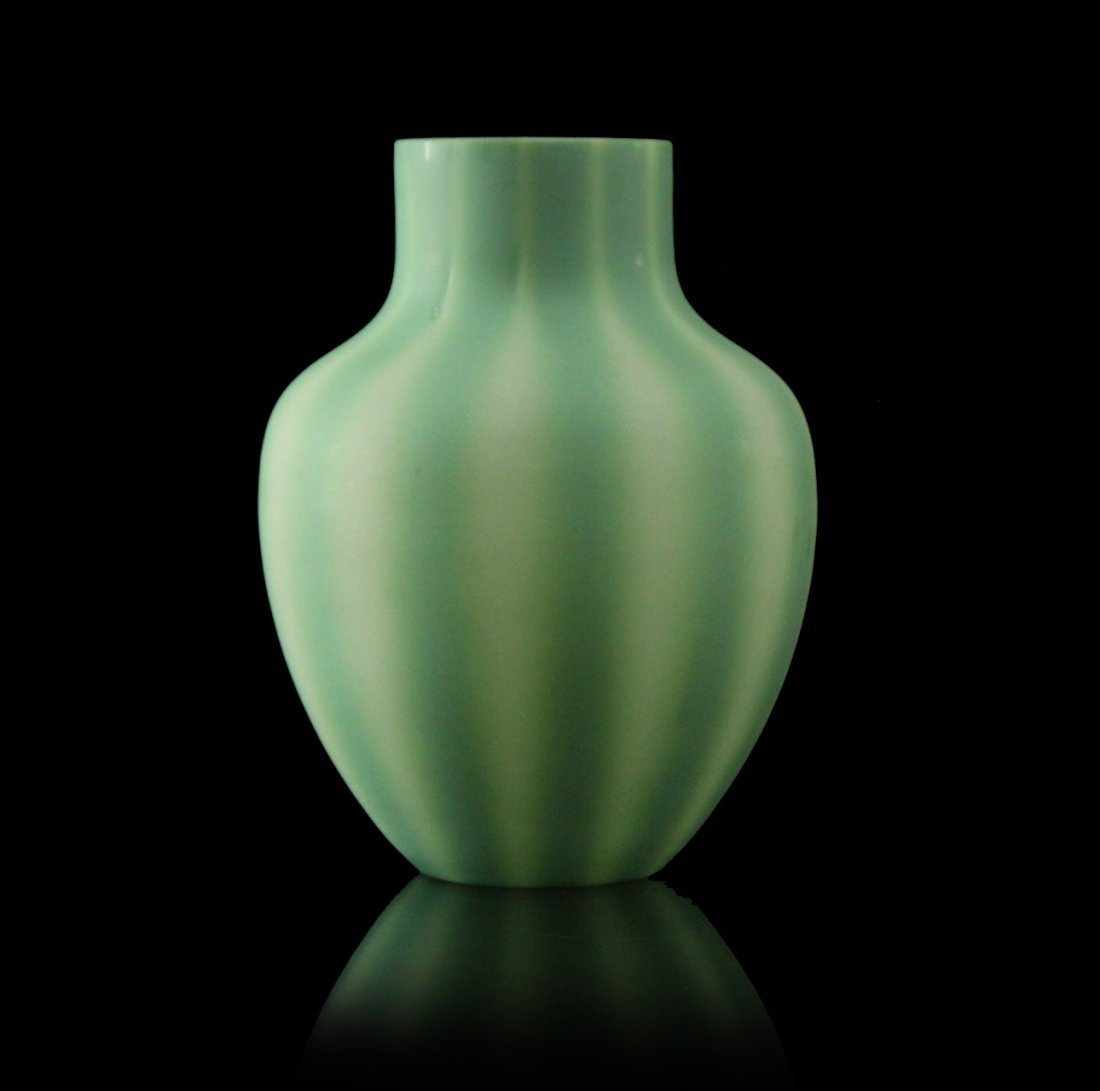 Green Burmese Art Glass Vase, Ribbed Pattern
